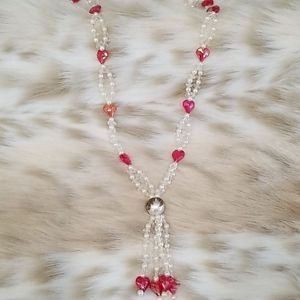 Vintage Handmade Crystal Hearts Tassel Necklace